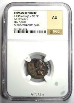 Roman L. C. Piso Frugi AR Denarius Apollo Silver Coin 90 BC Certified NGC AU