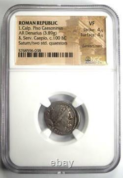Roman L. Calp Piso Caesoninus AR Denarius Silver Coin 100 BC Certified NGC VF