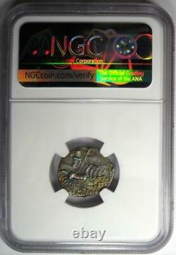 Roman L. Trebanius AR Denarius Silver Coin 135 BC with Rainbow Tone NGC AU