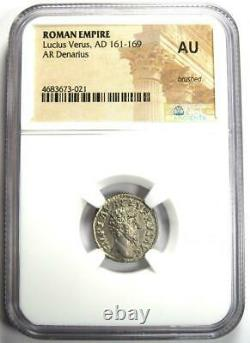 Roman Lucius Verus AR Denarius Silver Coin 161-169 AD Certified NGC AU