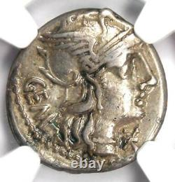 Roman M. Abur. Geminus AR Denarius Silver Coin 132 BC Certified NGC Choice VF