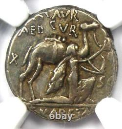 Roman M. Aem. Scaurus AR Denarius Camel Coin 58 BC Certified NGC Choice VF
