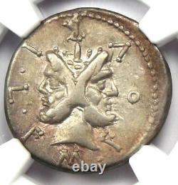 Roman M. Furius Lf. Philus AR Denarius Coin 121-119 BC Certified NGC VF