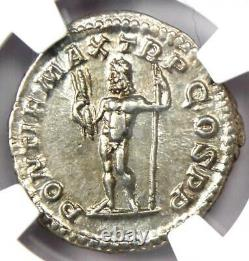 Roman Macrinus AR Denarius Silver Coin 217-218 AD Certified NGC Choice XF (EF)