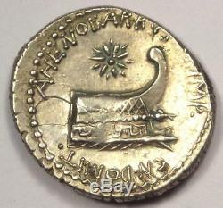 Roman Marc Antony AR Denarius Coin Ahenobarbus 40 BC. NGC VF (Photo Certificate)
