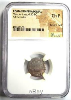 Roman Marc Antony AR Denarius Silver Coin 30 BC Certified NGC Choice Fine