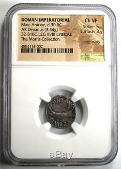 Roman Marc Antony AR Denarius Silver Coin 32 BC Certified NGC Choice VF