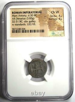 Roman Marc Antony AR Denarius Silver Galley Coin 30 BC NGC Choice VF (Very Fine)