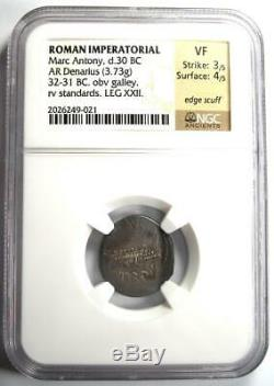 Roman Marc Antony AR Denarius Silver Galley Coin 30 BC NGC VF (Very Fine)