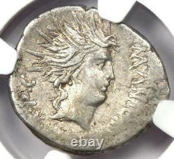 Roman Marc Antony AR Denarius Sol Coin 42 BC Certified NGC VF (Very Fine)