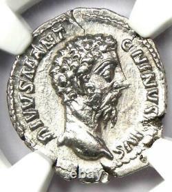 Roman Marcus Aurelius AR Denarius Silver Coin 161-180 AD Certified NGC AU