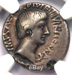 Roman Octavian Augustus AR Denarius Coin 36 BC (Divus Julius Temple) NGC VF