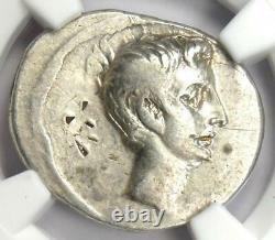 Roman Octavian Augustus AR Denarius Silver Coin 30 BC Certified NGC VF
