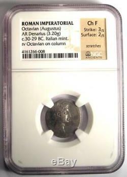 Roman Octavian Augustus AR Silver Denarius Coin 30-29 BC NGC Choice Fine
