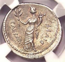 Roman Octavian Augustus AR Silver Denarius Coin 32-29 BC. NGC XF with Fine Style