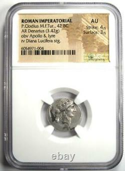 Roman P. Clodius M. F. Turrinus AR Denarius Coin 42 BC Certified NGC AU