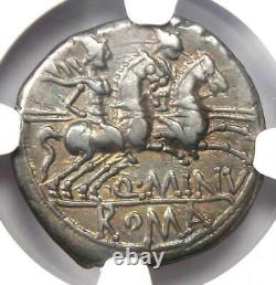Roman Q. Minucius Rufus AR Denarius Coin 122 BC. Certified NGC Choice VF