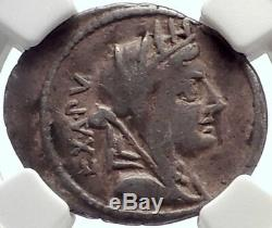 Roman Republic 102BC Cybele Victory Chariot Stork Ancient Silver Coin NGC i70150