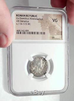 Roman Republic 116BC Rome Ancient Silver Coin JUPITER Horse Chariot NGC i72761