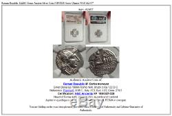 Roman Republic 122BC Rome Ancient Silver Coin JUPITER Horse Chariot NGC i62457
