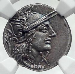 Roman Republic 122BC Rome Ancient Silver Coin JUPITER Horse Chariot NGC i80631