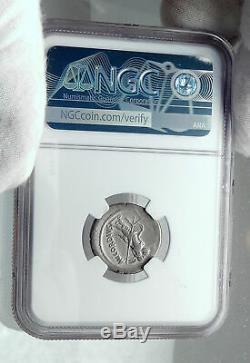 Roman Republic 46BC Silver JULIUS CAESAR Family Ancient Coin Gemini NGC i81273