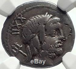 Roman Republic 76BC Ancient Silver Coin of Rome NEPTUNE CUPID DOLPHIN NGC i69125