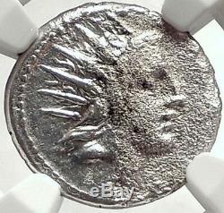 Roman Republic 76BC Sol BIG DIPPER Constellation Silver Ancient Coin NGC i68784