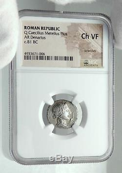 Roman Republic 81BC IMPERATOR GENERAL of DICTATOR SULLA Silver Coin NGC i78538