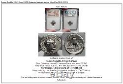 Roman Republic 89BC Rome CATO Quinarius Authentic Ancient Silver Coin NGC i59936