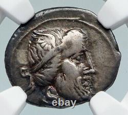 Roman Republic 90BC PRIAPUS Fertility God PEGASUS Ancient Silver Coin NGC i89843