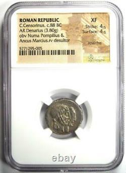 Roman Republic C. Censorinus AR Denarius Coin 88 BC Certified NGC XF (EF)