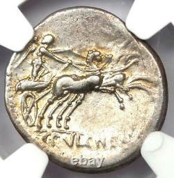 Roman Republic C. Cl. Pulcher AR Denarius Silver Coin 110 BC Certified NGC XF