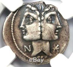 Roman Republic C. Fonteius AR Denarius Janus Janiform Coin 114 BC. NGC Choice VF