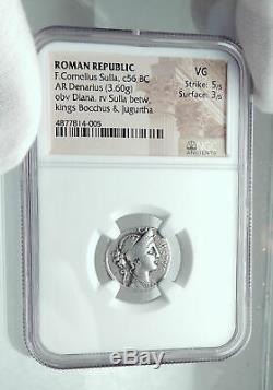 Roman Republic DICTATOR SULLA w Kings JUGURTA BOCCHOS Silver Coin NGC i78041