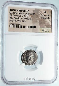Roman Republic HERCULES w LYRE Leader of MUSES Ancient Silver Coin NGC i85490