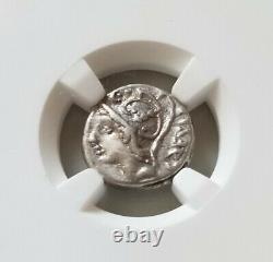 Roman Republic Julius Caesar Denarius 103BC NGC CH VF Ancient Silver Coin