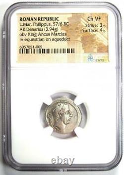 Roman Republic L. Mar. Philippus AR Denarius Coin 57 BC. Certified NGC Choice VF