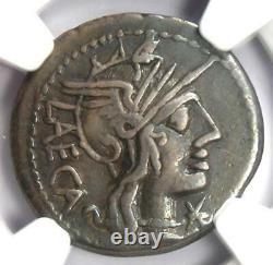 Roman Republic M. Porcius Laeca AR Denarius Coin 125 BC. Certified NGC VF