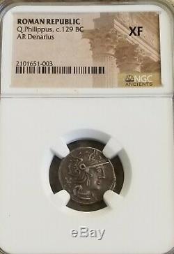 Roman Republic Q. Philippus Denarius NGC XF Ancient Silver Coin