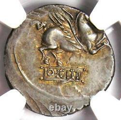 Roman Republic Q. Titius AR Denarius Pegasus Coin 90 BC Certified NGC XF (EF)