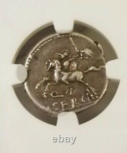 Roman Republic Sergius Silus Denarius NGC Choice VF Ancient Silver Coin