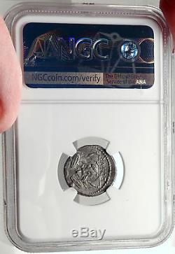 Roman Republic Tarpeia BETRAYS Rome Sabine King Tatius Silver Coin NGC i69075