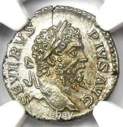 Roman Septimius Severus AR Denarius Coin 193-211 AD NGC MS (UNC) 5/5 Strike