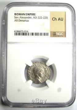 Roman Severus Alexander AR Denarius Coin 222-235 AD NGC Choice AU Condition