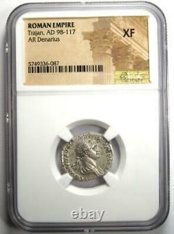 Roman Trajan AR Denarius Silver Coin 98-117 AD Certified NGC XF (EF)