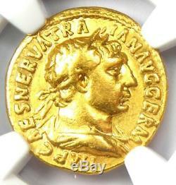 Roman Trajan Gold AV Aureus Hercules Coin 98-117 AD Certified NGC VF Rare