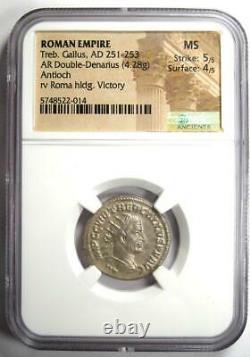 Roman Treb Gallus AR Double Denarius Coin 251-253 AD. Certified NGC MS (UNC)