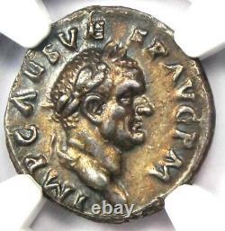 Roman Vespasian AR Denarius Silver Coin 69-79 AD. Certified NGC Choice XF (EF)