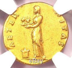 Roman Vespasian Gold AV Aureus Coin 69-79 AD Certified NGC Choice VF (Very Fine)